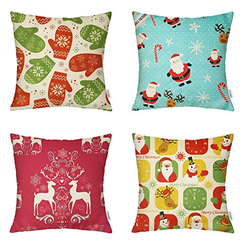 4 Packs Christmas Day Square 18 X 18 Inch Decorative Throw Pillow Cover ,Winter Christmas by Hippih (Decorative Christmas)