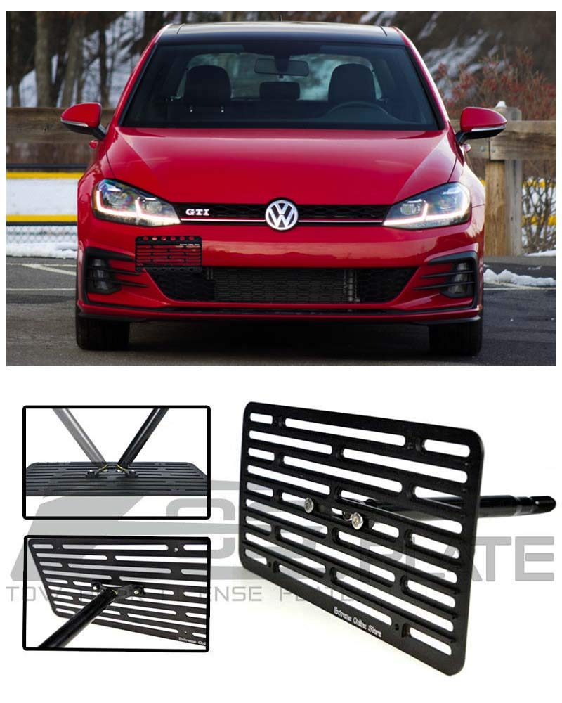 Extreme Online Store for 2018-Present Volkswagen Golf & GTI MK7.5 VW | EOS Plate Version 2 Full Sized Front Bumper Tow Hook License Plate Relocator Mount Bracket