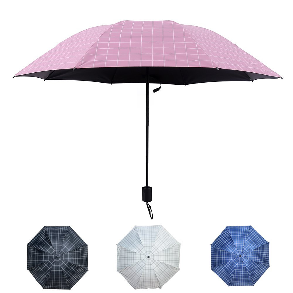 Choler Grid Umbrella Portable Outdoor Umbrella Windproof Rain Umbrella Sunshade Anti-UV(Pink)