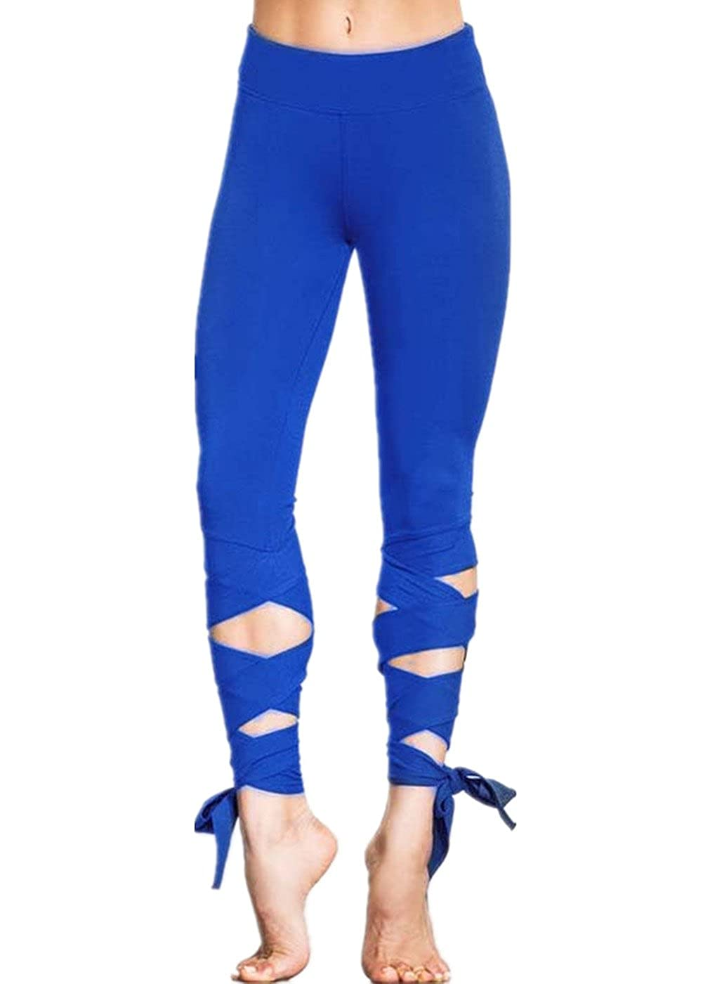 Cresay Women's Cutout Tie Cuff Leggings Slim Workout Gym Yoga Ballet Pants