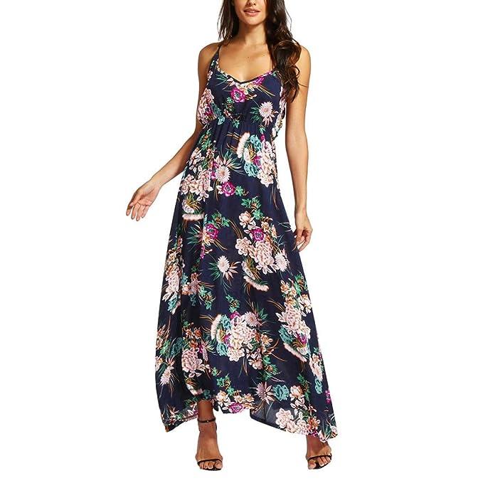 91f63d0d71eb63 Kingko® Sommerkleid Damen V-Ausschnitt Ärmellos Strandkleider Bohemia  Casual Lang Maxikleid Cocktail Beachwear,Blumen Damenbekleidung: Amazon.de:  Bekleidung