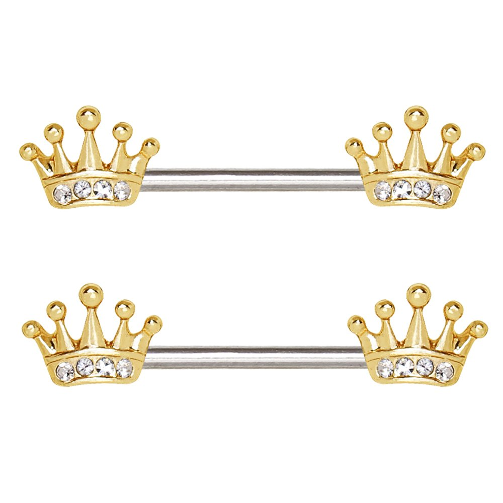 Cocobul Body Jewelry Pair of Gold Plated Princess Crown Nipple Bar 14 Gauge 5//8