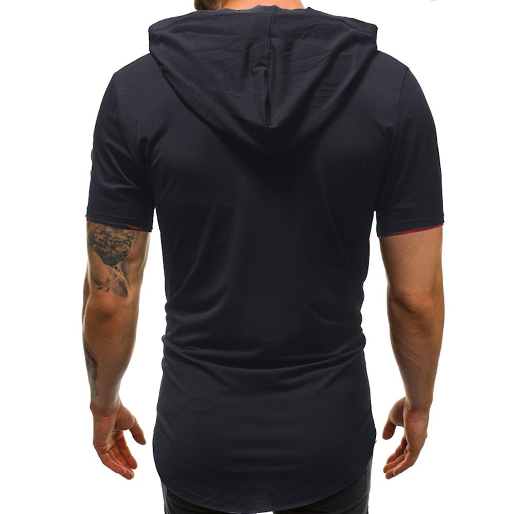 Mijaution Mens Hooded Top Summer Solid Color Short Sleeve Personality Print T-Shirt Irregular Clothing Round Collar