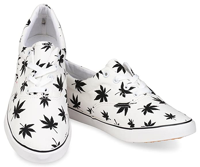 6bf6455fcc40 Amazon.com | Hipster Mens Marijuana Weed Leaf Skate Shoe | Fashion Sneakers