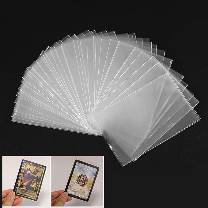 Cuigu Lote de 100 fundas mágicas transparentes para proteger los naipes de los juegos de cartas, como póquer, tarot, Tres Reinos, plástico, transparente, A: Amazon.es: Hogar