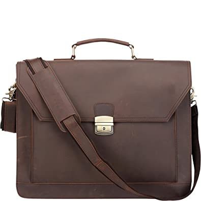 834333ad4 Professional Brown Full Grain Leather Briefcase/ Laptop/ Messenger Bag:  Amazon.co.uk: Clothing