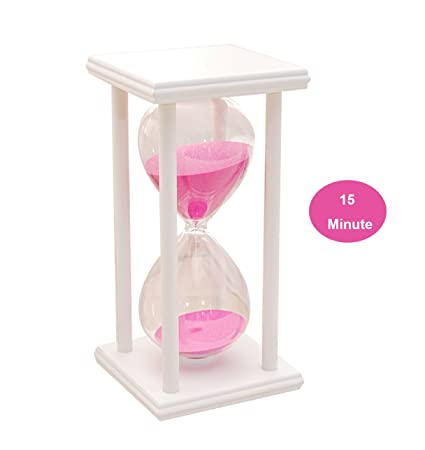 d44fe86fd3b5 15 Minute Sand Timer Retro Wooden Hourglass Square Base Pink Sand Timer for  Kids