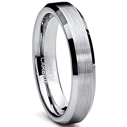 Ultimate Metals Anillo de Matrimonio Tungsteno Unisexo, Banda Acadada Pulida y Mate 4mm