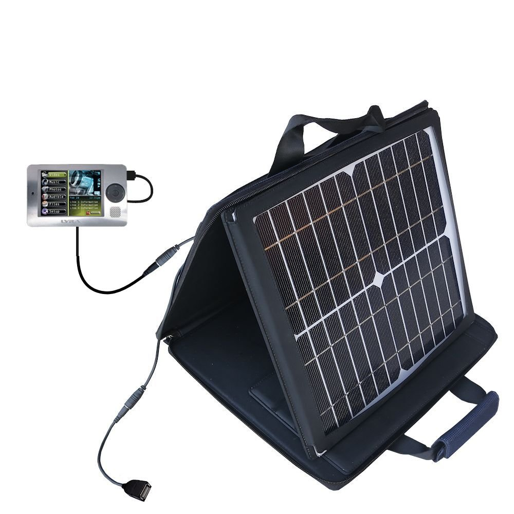 Gomadic SunVolt High Output Portable Solar Power Station designed for the RCA X3000 LYRA Media Player - Can charge multiple devices with outlet speeds