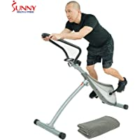 Sunny Health & Fitness Incline Plank Standing Exercise Bike w/Workout Cooling Towel
