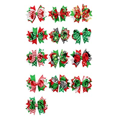 e460213f0da1e 13pcs Pack Baby Infant Girls Christmas Bowknot Swallowtail Knot Ornaments Hair  Bows