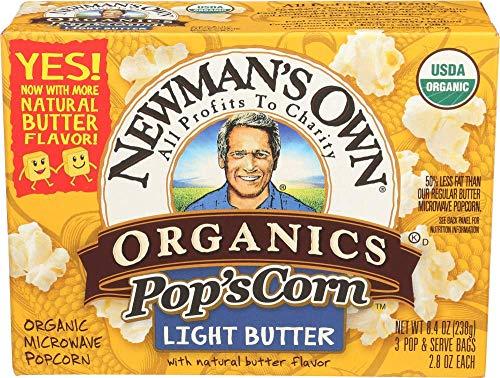 Newman's Own Organics Microwave Popcorn, Light Butter, 8.4-oz. (Pack of 12) (Flavor Light Butter)