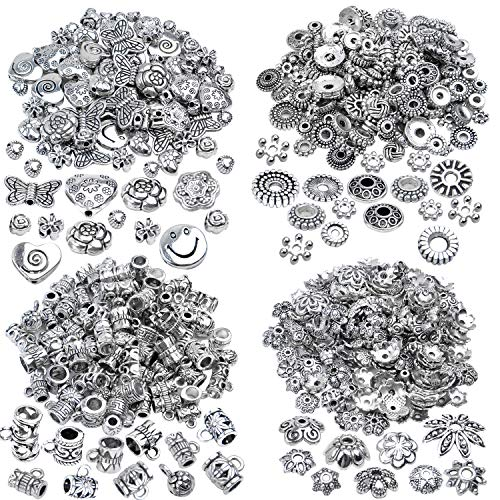 200g (about 400-500pcs) Tibetan Alloy Spacer Beads Flower Bead Caps Bail Beads Rondelle Beads for Jewelry Making DIY Bracelet Necklace Crafts,4 Styles