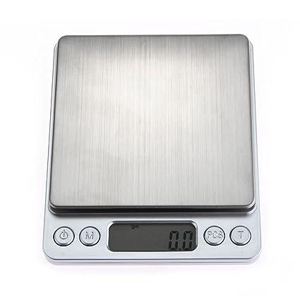 COLEMETER® 500g/0.01g Balanza Báscula Electrónico Alta Precisión Cocina Plateado