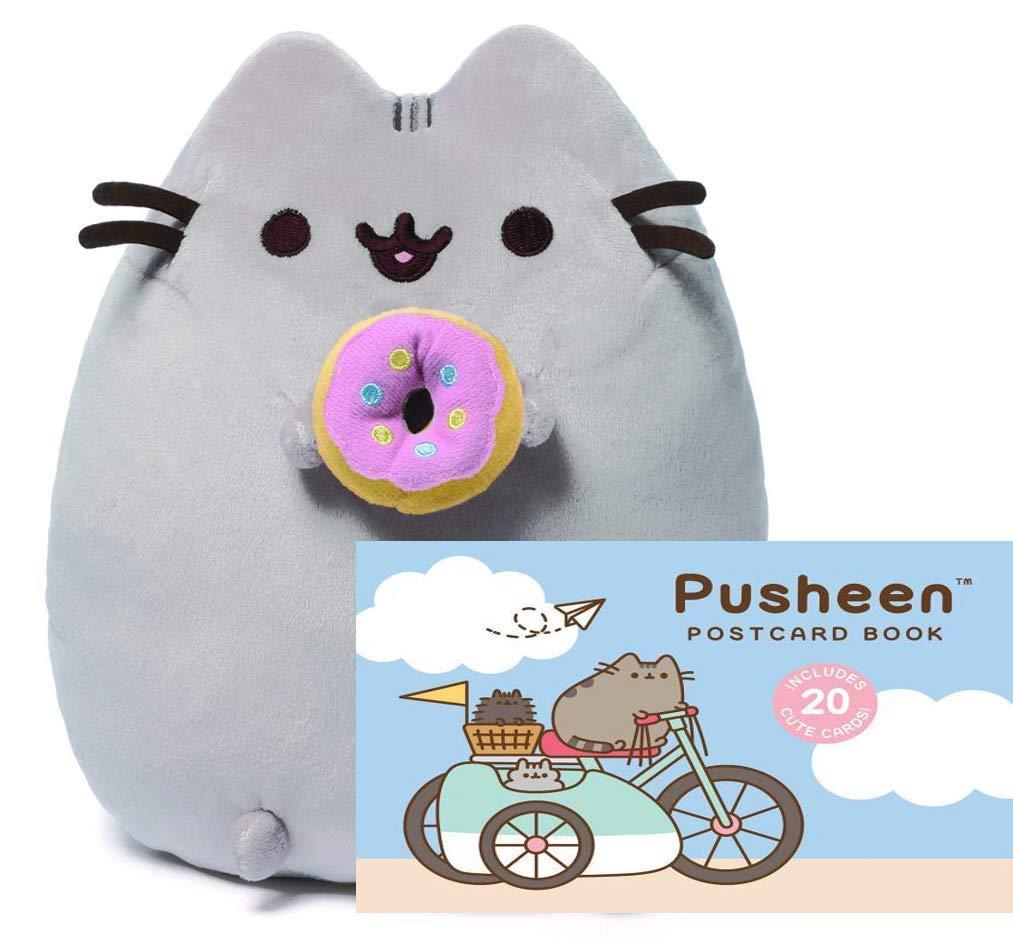 Pusheen Plush Stuffed Cat with Donut 9.5'' (Postcard Book Gift Set) by GUND