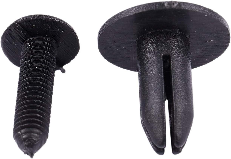 Vaorwne Plastico Remache de Tipo de Empuje de 6mm Agujero de Coche Bumper Retainer Clip Negro 20pzs