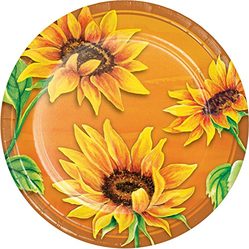 (Pack of 144 Yellow and Green Sunflower Themed Dinner Plate)