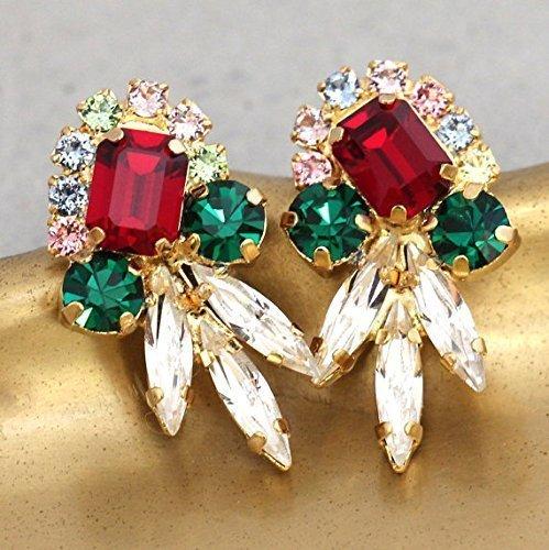 Bridal Emerald Ruby and white Cluster Stud Earrings, Swarovski Crystal Bridesmaids Gifts, Handmade Christmas Jewelry (Jewelry Regency)