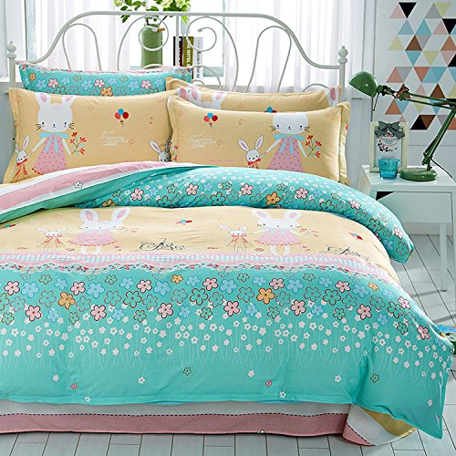Mumgo Home Collection Soft Duvet Cover Set for Kids 100% Cotton Rabbit Flower Print Bedding Full/Queen Set without Comforter by WarmGo