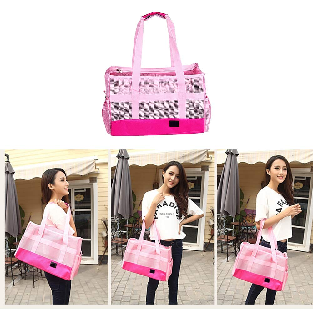 PETHOMEL Dog Carrier Purses,Collapsible Pet Carrier Purse for Small Dogs Cats Travel Soft Net Tote Hand Shoulder Bag Kennel,Pink,402027cm