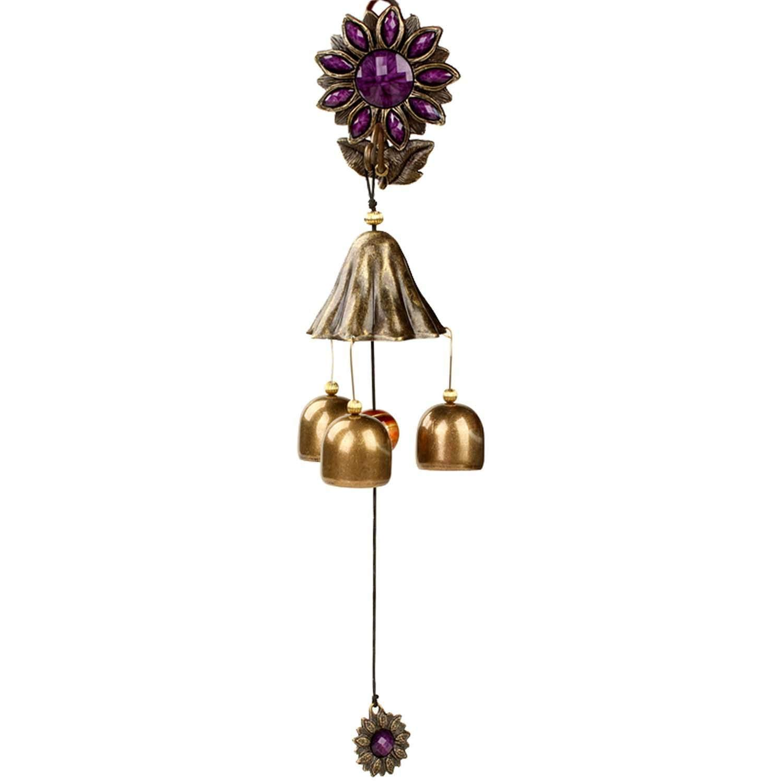 Geomancy Alloy Sunflower Bells Hang Metal Door Trim Countryside Aeolian Bells Originality Small Bell Hanging Drop,C