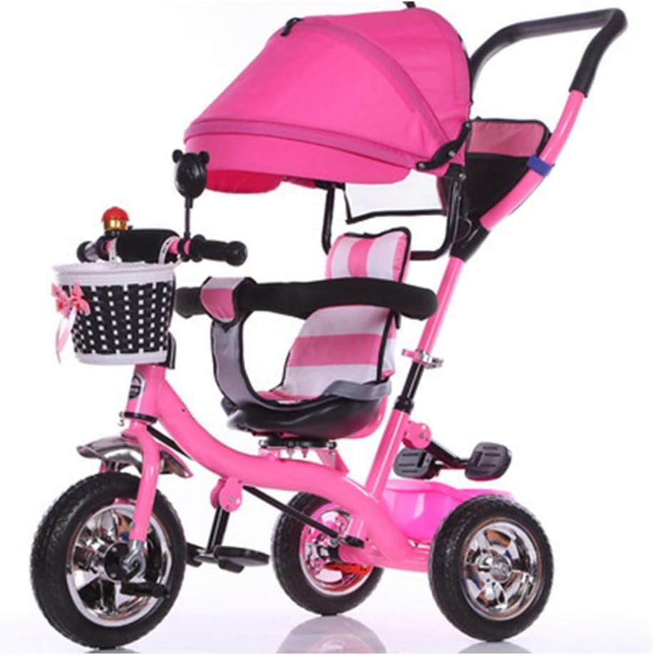 YLZT Carro pequeño Triciclo Interior y Exterior para niños/Cochecito y toldo Julio-6 años,Rosado