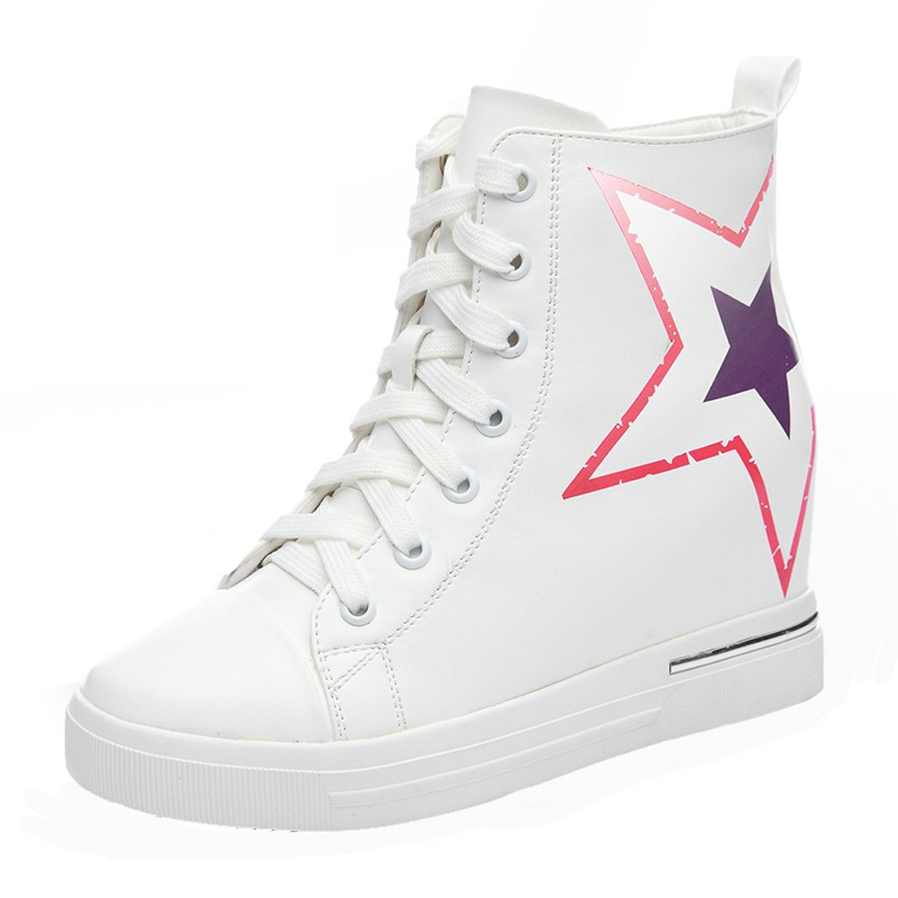 DUNHU Women Fashion Flat Sneaker Ankle High Leather Walking Shoe White 8M US