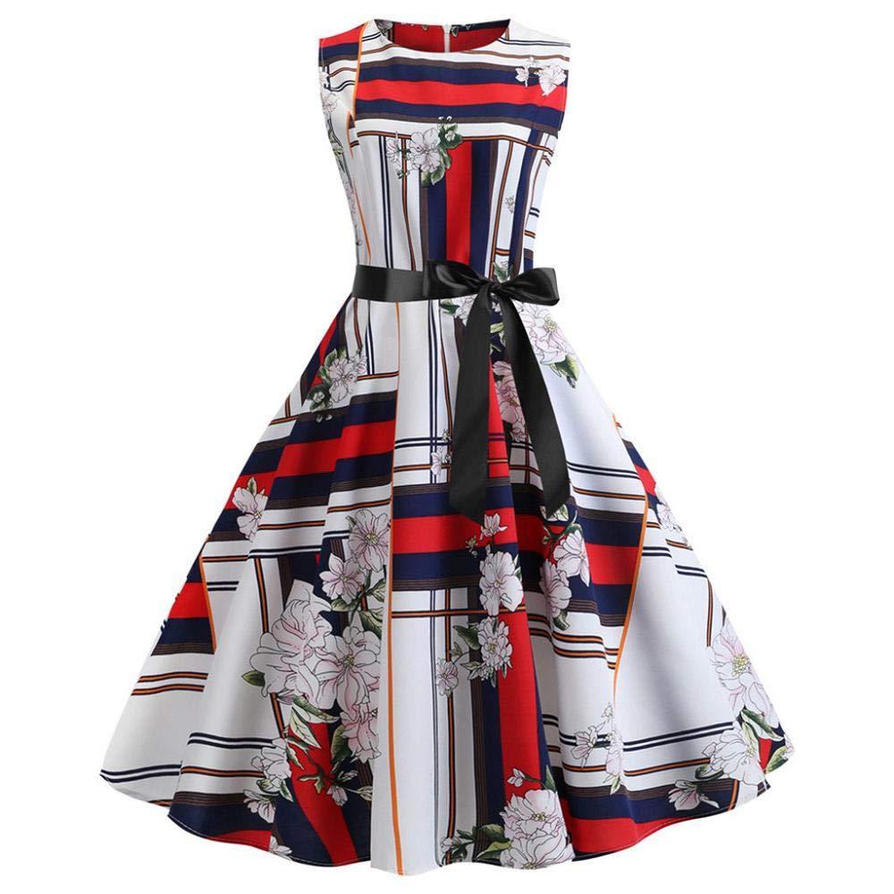 Robe de Soiree Femme, Vintage 1950's Audrey Hepburn Rétro Imprimé Fluer Pin-up Cocktail Robe Ceremonie sans Manches Grande Taille Années 50 60 à Pois Rockabilly Robe Vert JiaMeng