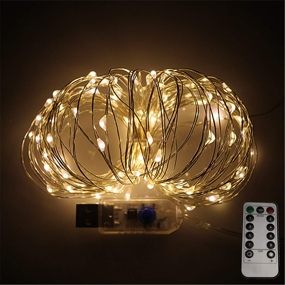 LEDLuces 10M/33ft 100 LEDs String Lights, USB Powered Low Voltage Waterproof 8 Modes With Remote Control For Decoration - Silver Wire(Warm White)