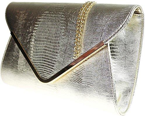 Print Envelope Bag Flat Ladies Clutch Black Croc Animal Gold Evening pqU5v