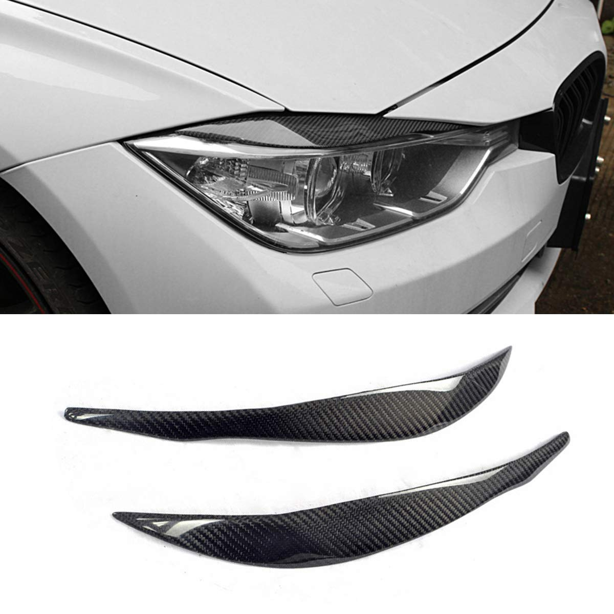 Fandixin F30 Eyebrow, Sport Real Carbon Fiber Headlight EyeLid Cover for BMW 3 Series F30