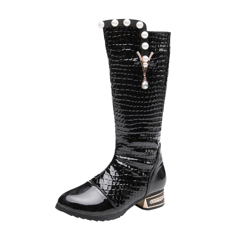 8960a6154a466 AHATECH Bottes Filles Hiver Boots en Cuir PU Chaussures Enfants Filles -  Noir