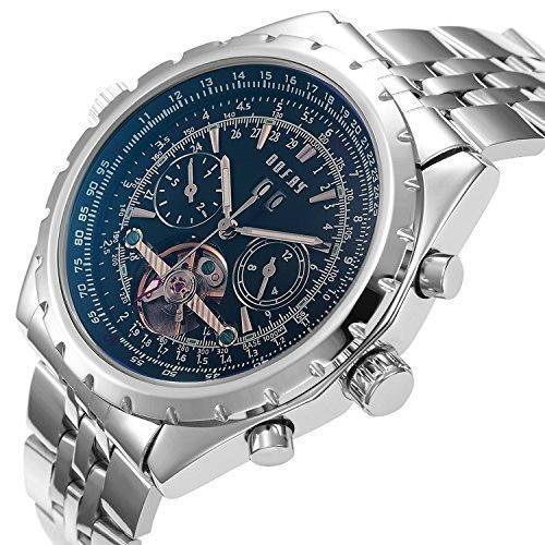 OOFAY® Men's Hollow Engraving Black Dial Blue Glass Automatic Self-wind Mechanical Watch