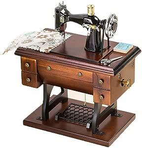 Musical Máquina de coser caja de música, vector de la vendimia de coser Mini estilo de la máquina mecánica regalo de cumpleaños decoración clásica caja de música de cumpleaños de la decoración