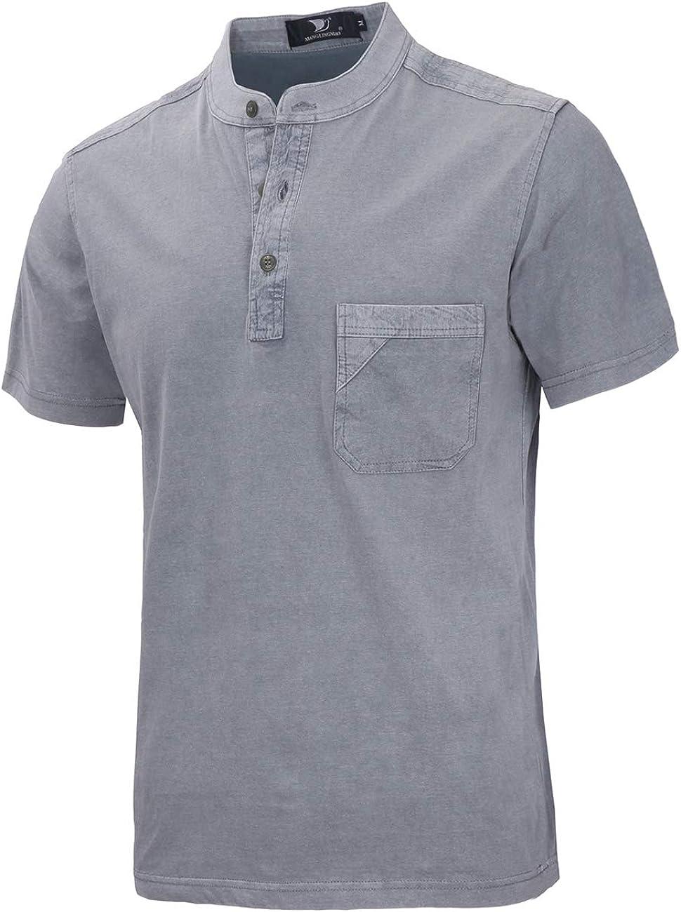 Yingqible Henleys Camiseta de manga corta para hombre con botones y cuello en forma de Y estilo casual