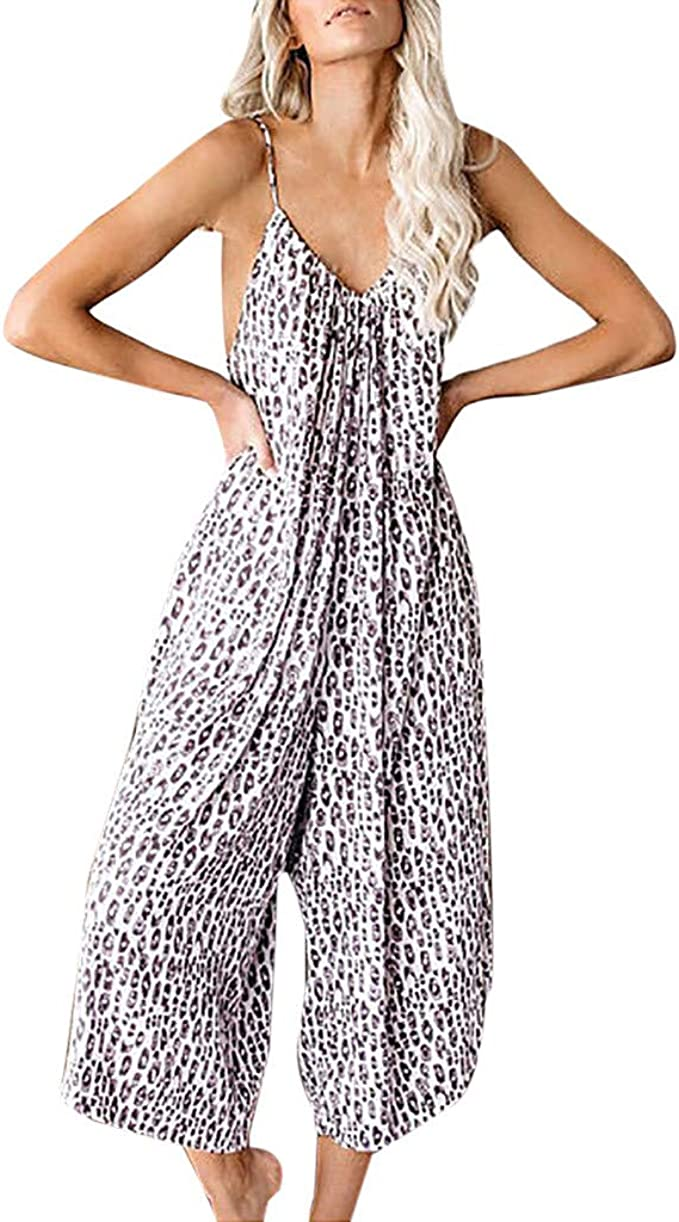 Womens Sexy Straps Jumpsuits V Neck Leopard Print Casual Loose Overalls Romper Wide Leg Pants Playsuit Vintage Clothing Amazon Com