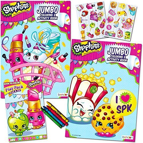 Shopkins Ultimate Coloring and Activity Book Set -- 2 Jumbo Coloring Books, 25 Stickers, 4 Crayons and Bonus Mini Coloring Book!