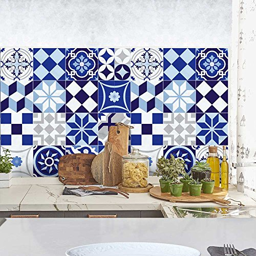 wall art PS00048-P – Portugal Blue – Decorative Tile Stickers for Bathroom and Kitchen – Tile Adhesive, vinyl, 15×15 cm…