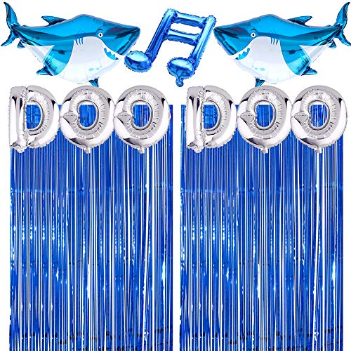 Valentina Buck Baby Cute Shark Birthday Party Supplies Decorations Includes 2 PACK Metallic Foil Fringe, Silver Letter DOO DOO, 2 Aluminum Foil Shark Balloons for Boy Girl 1st Blue Sea Birthday Theme