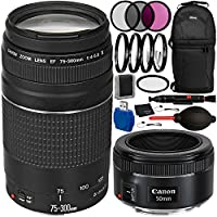 Canon EF 75-300mm f/4-5.6 III & EF 50mm f/1.8 STM Dual Lens Bundle with Accessory Kit for EOS 7D Mark II, 7D, 80D, 70D, 60D, 50D, 40D, 30D, 20D, Rebel T6s, T6i, T5i, T4i, SL1, T3i, T6, T5, T5, T3, T2i