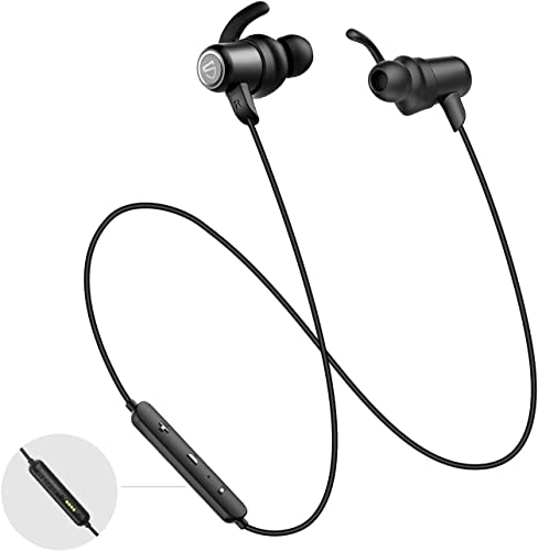 SOUNDPEATS IPX8 Waterproof Bluetooth Headphones, APTX HD Audio CVC 6.0 Built-in Mic, Wireless Earbuds with Magnetic Charger, 14 Hours Playtime Bluetooth 5.0 Sports Earphones for Workout, Running, Gym
