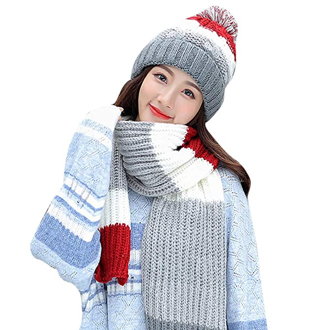 eef0f1dbcc7 Sinma Women Winter Warm Hats Stretch Knitted Hair Ball Beanie Scarf for  Autumn Winter 2Pcs (