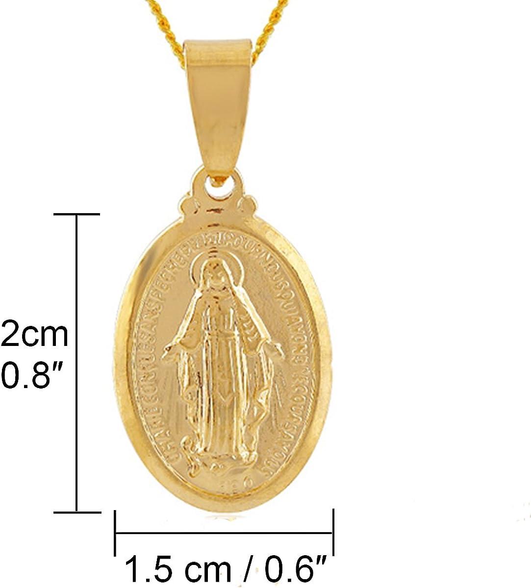 Yodensity Collier M/édaillon De La Sainte Vierge Marie Pendentif /Él/égant En 18K Plaqu/é Or Cadeau Pour Saint Valentin F/ête Des M/ères Anniversaire