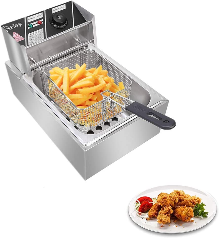 Professional Electric Deep Fryer, Countertop Kitchen Frying Machine, Stainless Steel French Fryer with Basket & Lid for Commercial Restaurant Countertop Family Food Cooking (Single Tank 6L)