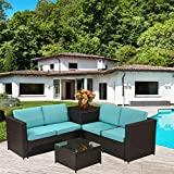 MeiYi 4PCS All-Weather Cushioned Outdoor Garden Storage Box Function Sofa Set Patio PE Rattan Wicker Sofa Sectional Furniture Set w/Grey Cushions,Blue Cushion Covers are for free