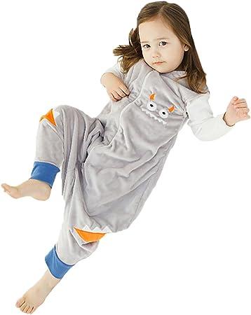 Happy Cherry - Saco de Dormir Infantil Mono del Algodón Franela Cremallera Pijama de Bebé Cartoon para Niños Niñas - Gris - S(1-2 años)