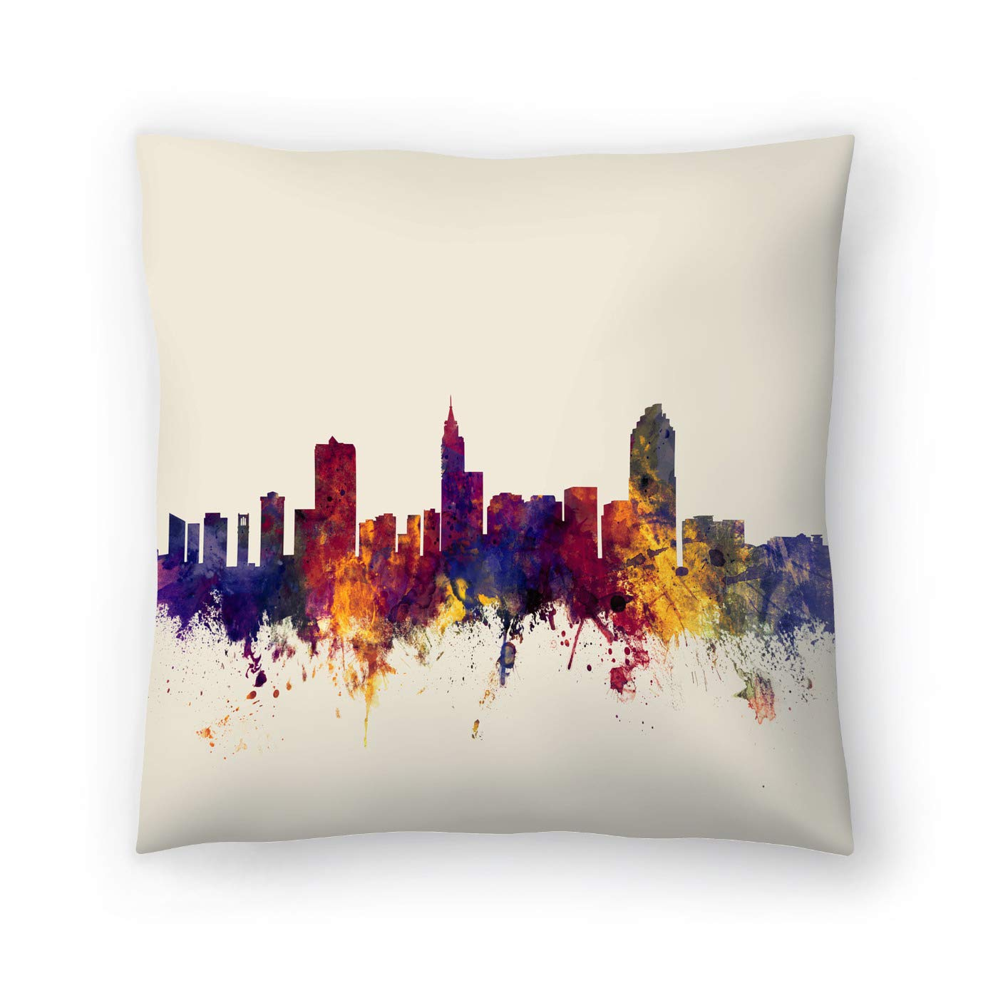 Buy American Flat Raleigh North Carolina Skyline New 3 Art Pause Pillow By Michael Tompsett 18 X 18 Online At Low Prices In India Amazon In