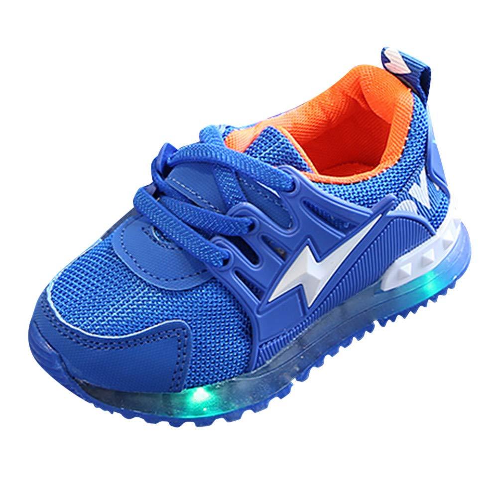 Aritone 1-6T Kids Baby Girls Boys Shoes,Lightning LED Luminous Sneakers,Anti-Slip Breathable Mesh Running Sport Shoes (Blue, Age:3.5-4T / US:8)