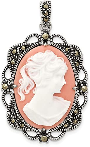 ON SALE  Vintage Silver Cameo and Marcasite Pendant with Silver Chain