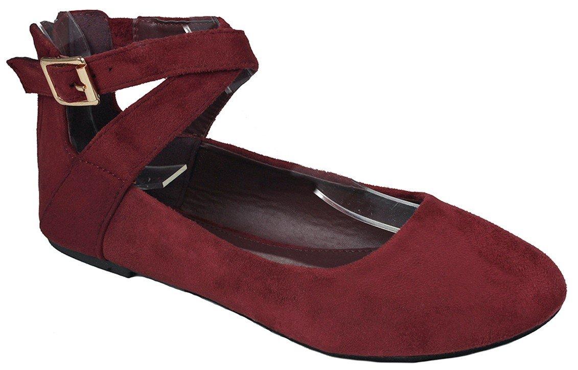 JJF Shoes Women Criss Cross Elastic Strap Round Toe Back Zip Comfort Loafer Ballet Dress Flats B01N3XEH7A 8 B(M) US|Wine_brea